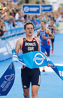 12 JUL 2014 - HAMBURG, GER - Alistair Brownlee (GBR) from Great Britain wins the men's 2014 ITU World Triathlon Series round in the Altstadt Quarter, Hamburg, Germany (PHOTO COPYRIGHT © 2014 NIGEL FARROW, ALL RIGHTS RESERVED)