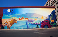 This is a colorful Austin, Texas themed building wall mural that graced the side the now closed Hard Rock Cafe on 6th Street in Austin, Texas