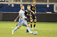 KANSAS CITY, KS - OCTOBER 11: Johnny Russell #7 of Sporting Kansas City with the ball during a game between Nashville SC and Sporting Kansas City at Children's Mercy Park on October 11, 2020 in Kansas City, Kansas.