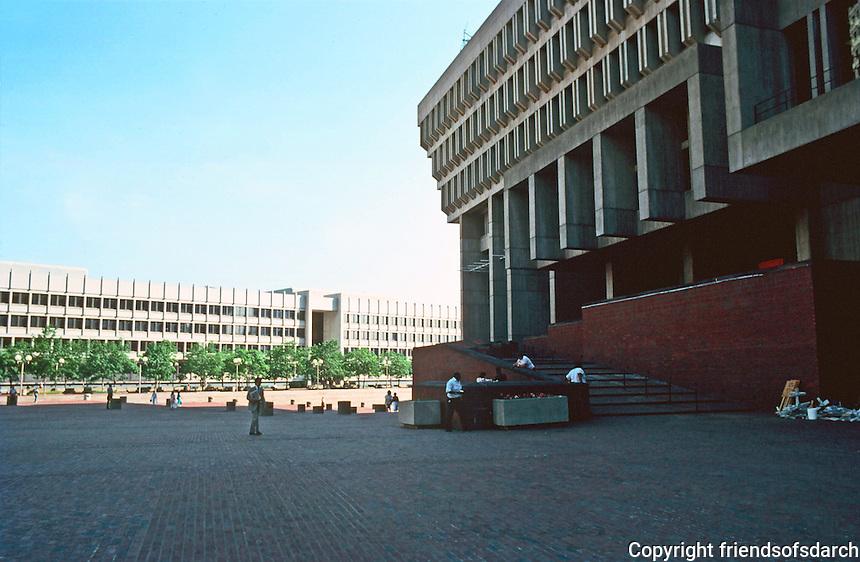Boston:  3. City Hall Plaza--the western wall of City Hall on right.  Photo '88.