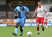 Will Antwi of Wycombe Wanderers in action as Steve Morison of Stevenage Borough looks on during Stevenage Borough vs Wycombe Wanderers, Friendly Match Football at Broadhall Way on 25th July 2008
