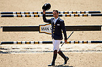 APRIL 27, 2014: Ruy Fonseca (BRA) acknowledges the crowd after being unseated by a refusal from TOM BOMBADILL TOO in the Stadium Jumping Finals at the Rolex Kentucky 3-Day Event at the Kentucky Horse Park in Lexington, KY. Jon Durr/ESW/CSM