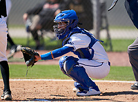IMG Academy Ascenders catcher Charlie Lesch (8) during a JV game against the Lakeland Dreadnaughts on February 20, 2021 at IMG Academy in Bradenton, Florida.  (Mike Janes/Four Seam Images)
