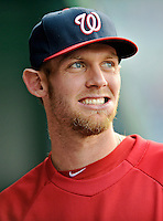 16 May 2012: Washington Nationals pitcher Stephen Strasburg looks out from the dugout prior to a game against the Pittsburgh Pirates at Nationals Park in Washington, DC. The Nationals defeated the Pirates 7-4 in the first game of their 2-game series. Mandatory Credit: Ed Wolfstein Photo