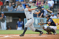 Charleston RiverDogs catcher Gary Sanchez #35 at bat during a  game  against  the Asheville Tourists at McCormick Field on August 4, 2011 in Asheville, North Carolina. Asheville won the game 5-4.   (Tony Farlow/Four Seam Images)