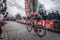 Mads Pedersen (DEN/Trek Segafredo) up the 3th passage of the Oude Kwaremont.<br /> <br /> 102nd Ronde van Vlaanderen 2018<br /> 1day race: Antwerp › Oudenaarde - BEL (265k)