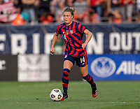 EAST HARTFORD, CT - JULY 5: Emily Sonnett #14 of the USWNT dribbles during a game between Mexico and USWNT at Rentschler Field on July 5, 2021 in East Hartford, Connecticut.