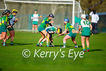 Kerry's Ann Marie Leen and Laura Collins putting Jane Dolan of Meath under pressure in the Camogie Intermediate Championship