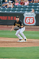 Matt Thaiss (17) of the Salt Lake Bees on defense against the Nashville Sounds at Smith's Ballpark on July 27, 2018 in Salt Lake City, Utah. The Bees defeated the Sounds 8-6. (Stephen Smith/Four Seam Images)