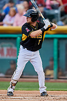 Ryan Schimpf (17) of the Salt Lake Bees bats against the Sacramento River Cats at Smith's Ballpark on May 17, 2018 in Salt Lake City, Utah. Salt Lake defeated Sacramento 12-11. (Stephen Smith/Four Seam Images)