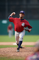 Mahoning Valley Scrappers relief pitcher Maiker Manzanillo (48) delivers a pitch during the second game of a doubleheader against the Batavia Muckdogs on September 4, 2017 at Dwyer Stadium in Batavia, New York.  Mahoning Valley defeated Batavia 6-2.  (Mike Janes/Four Seam Images)