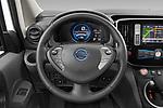 Steering wheel view of a Car pictures of steering wheel view of a 2021 Nissan e-NV200 Business 4 Door Cargo Van