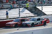 #9: Tyler Reddick, JR Motorsports, Chevrolet Camaro Old Milwaukee Beer and #18: Denny Hamlin, Joe Gibbs Racing, Toyota Camry SportClips