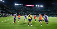 28th August 2021; Benito Villamarín Stadium, Seville, Spain, Spanish La Liga Football, Real Betis versus Real Madrid;  Benzema and Gareth Bale of Real Madid warm up