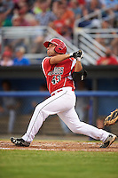 Batavia Muckdogs first baseman Eric Gutierrez (43) at bat during a game against the Brooklyn Cyclones on July 4, 2016 at Dwyer Stadium in Batavia, New York.  Brooklyn defeated Batavia 5-1.  (Mike Janes/Four Seam Images)
