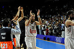 Real Madrid´s Sergio Rodriguez thank's the supporters  during 2014-15 Euroleague Basketball Playoffs second match between Real Madrid and Anadolu Efes at Palacio de los Deportes stadium in Madrid, Spain. April 17, 2015. (ALTERPHOTOS/Luis Fernandez)