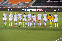 HOUSTON, TX - SEPTEMBER 26: The Orlando Pride starting lineup stands on the field before a game between Orlando Pride and Houston Dash at BBVA Stadium on September 26, 2020 in Houston, Texas.