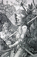 Visual Arts:  Albrecht Durer--Knight, Death and the Devil, detail.  Photo '91.