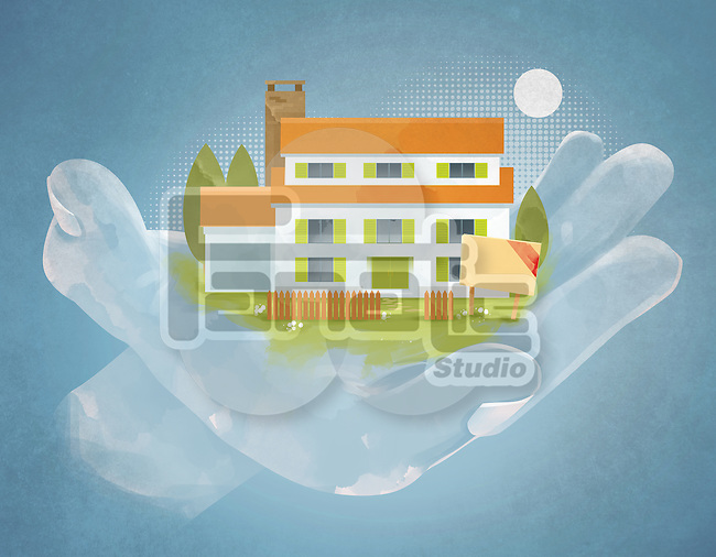 Illustrative image of hand holding house representing home insurance