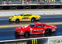 Jul 30, 2017; Sonoma, CA, USA; NHRA pro stock driver Drew Skillman (near) races alongside Jeg Coughlin Jr during the Sonoma Nationals at Sonoma Raceway. Mandatory Credit: Mark J. Rebilas-USA TODAY Sports