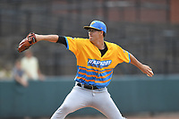 Los Rapidos de Kannapolis starting pitcher Taylor Varnell (29) in action during a game against Las Llamas de Hickory at L.P. Frans Stadium on July 17, 2019 in Hickory, North Carolina. The Llamas defeated the Rapidos 7-5. (Tracy Proffitt/Four Seam Images)