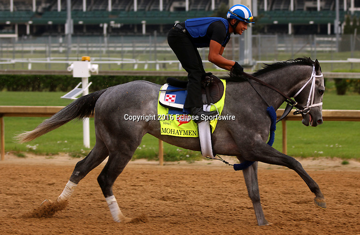 LOUISVILLE, KY - APRIL 19: Mohaymen (Tapit x Justwhistledixie, by Dixie Union) gallops with exercise rider Miguel Jaime, Churchill Downs, Louisville KY. Owner Shadwell Stable, trainer Kieran McLaughlin. (Photo by Mary M. Meek/Eclipse Sportswire/Getty Images)