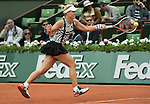 May 24,2016:  Angelique Kerber (GER) splits the first two sets with Kiki Bertens (NED) 2-6, 6-3, at the Roland Garros being played at Stade Roland Garros in Paris, .  ©Leslie Billman/Tennisclix