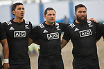 Sean Wainui (L), Codey Rei, Joe Royal. Maori All Blacks vs. Fiji. Suva. MAB's won 27-26. July 11, 2015. Photo: Marc Weakley