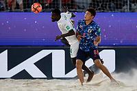 28th August 2021; Luzhniki Stadium, Moscow, Russia: FIFA World Cup Beach Football tournament; Semi final match Japan versus Senegal:  Japan's Takuya Akaguma against Papa Ndour of Senegal, during the match between Japan and Senegal