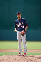 GCL Twins relief pitcher Junior Navas (45) gets ready to deliver a pitch during the first game of a doubleheader against the GCL Orioles on August 1, 2018 at CenturyLink Sports Complex Fields in Fort Myers, Florida.  GCL Twins defeated GCL Orioles 7-6 in the completion of a suspended game originally started on July 31st, 2018.  (Mike Janes/Four Seam Images)