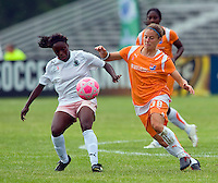 St Louis Athletica forward Enoila Aluko (9) and Sky Blue FC defender/midfielder Julianne Sitch (38) battle for the ball during a WPS match at Anheuser-Busch Soccer Park, in St. Louis, MO, June 7, 2009. Athletica won the match 1-0.