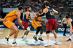 Herbalife Gran Canaria's players Darko Planinic and Royce O'Neale and FC Barcelona Lassa player Stratos Perperoglou and Ante Tomic during the final of Supercopa of Liga Endesa Madrid. September 24, Spain. 2016. (ALTERPHOTOS/BorjaB.Hojas)