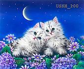 Kayomi, CUTE ANIMALS, paintings, MoonlightRendezvous_M, USKH100,#AC# illustrations, pinturas ,everyday