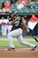 Kane County Cougars outfielder Yasiel Balaguert (22) at bat during a game against the Peoria Chiefs on June 2, 2014 at Dozer Park in Peoria, Illinois.  Peoria defeated Kane County 5-3.  (Mike Janes/Four Seam Images)