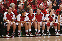 STANFORD, CA - JANUARY 2:  Mikaela Ruef, Grace Mashore, Ashley Cimino, Michelle Harrison, and Lindy La Rocque of the Stanford Cardinal during Stanford's 79-58 win over the California Golden Bears on January 2, 2010 at Maples Pavilion in Stanford, California.