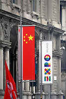 - Milan, flags for Expo 2015 near Duomo square<br /> <br /> - Milano, bandiere per l' Expo 2015 nei pressi di piazza Duomo