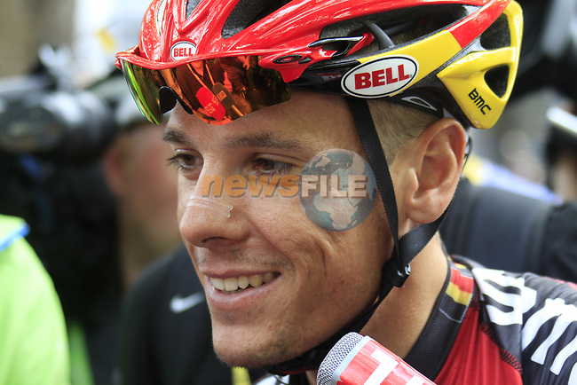 Philippe Gilbert (BEL) BMC Racing Team in the Tour Village before the start of Stage 1 of the 99th edition of the Tour de France, running 198km from Liege to Seraing starting in Parc d'Avroy Liege, Belgium. 1st July 2012.<br /> (Photo by Eoin Clarke/NEWSFILE)