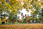 Fall colors bloom around the Campanile as students pass on the campus of Iowa State University in Ames, Iowa. (Christopher Gannon/Gannon Visuals)
