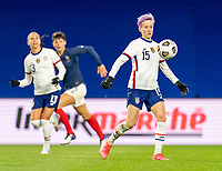 LE HAVRE, FRANCE - APRIL 13: Megan Rapinoe #15 of the USWNT controls the ball during a game between France and USWNT at Stade Oceane on April 13, 2021 in Le Havre, France.