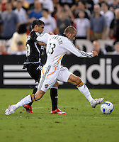 Los Angeles Galaxy midfielder David Beckham (23) fights for possession of the ball against DC United forward Jaime Moreno (99). DC United defeated the Los Angeles Galaxy 1-0,  at RFK Stadium Washington DC, Thursday August 9, 2007.