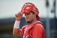 FCL Phillies catcher Oscar Gonzalez (7) during a game against the FCL Phillies on July 6, 2021 at the Yankees Minor League Complex in Tampa, Florida.  (Mike Janes/Four Seam Images)