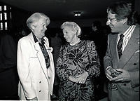 Montreal (qc) CANADA - file Photo - 1990 - <br /> <br /> <br />  - May Cutler, Mayor of Westmount (L)<br />  Jeanne Sauve, Governor General of Canada (M), Albert Millaire (R)