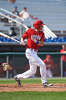 Auburn Doubledays shortstop Ian Sagdal (8) at bat during a game against the Batavia Muckdogs on September 7, 2015 at Falcon Park in Auburn, New York.  Auburn defeated Batavia 11-10 in ten innings.  (Mike Janes/Four Seam Images)