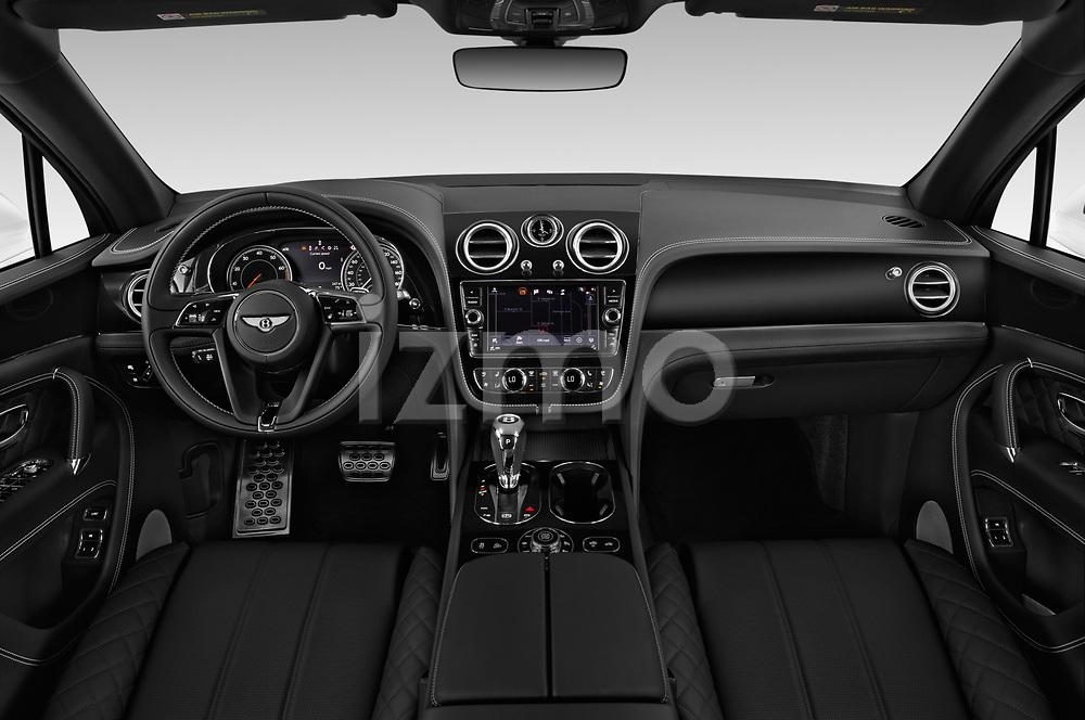 Stock photo of straight dashboard view of a 2018 Bentley Bentayga Base 5 Door SUV