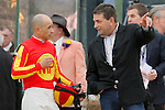 Jockey Mike Smith and co-trainer Jimmy Barnes discussing the race after an inquiry in the running of the Rebel Stakes (Grade II) at Oaklawn Park in Hot Springs, Arkansas-USA on March 15, 2014. (Credit Image: © Justin Manning/Eclipse/ZUMAPRESS.com)