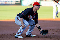 Lansing Lugnuts third baseman Justin Atkinson (22) gets in position during a Midwest League game against the Wisconsin Timber Rattlers on April 29th, 2016 at Fox Cities Stadium in Appleton, Wisconsin.  Wisconsin defeated Lansing 2-0. (Brad Krause/Four Seam Images)