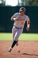 Oakland Athletics Jhonny Rodriguez (15) during an instructional league game against the San Francisco Giants on October 12, 2015 at the Giants Baseball Complex in Scottsdale, Arizona.  (Mike Janes/Four Seam Images)