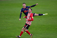 Sunderland's Aiden McGeady watches as Blackpool's Oliver Turton shots goes over during Sunderland AFC vs Blackpool, Sky Bet EFL League 1 Football at the Stadium Of Light on 27th April 2021
