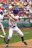 Louisiana State shortstop Alex Bregman (30) at bat against the North Carolina Tar Heels during Game 7 of the 2013 Men's College World Series on June 18, 2013 at TD Ameritrade Park in Omaha, Nebraska. The Tar Heels defeated the Tigers 4-2, eliminating LSU from the tournament. (Andrew Woolley/Four Seam Images)