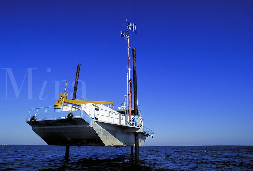 Recording vessel used to pick up seismic data. Louisiana, Lake Salvador.
